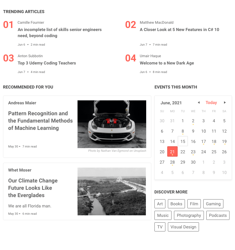 Telerik UI for Blazor GridLayout UI Component shows a 2x2 grid of trending articles on top, then two stacked 'recommended for you' articles beside a stacked 'events of this month' calendar and 'discover more' tags.