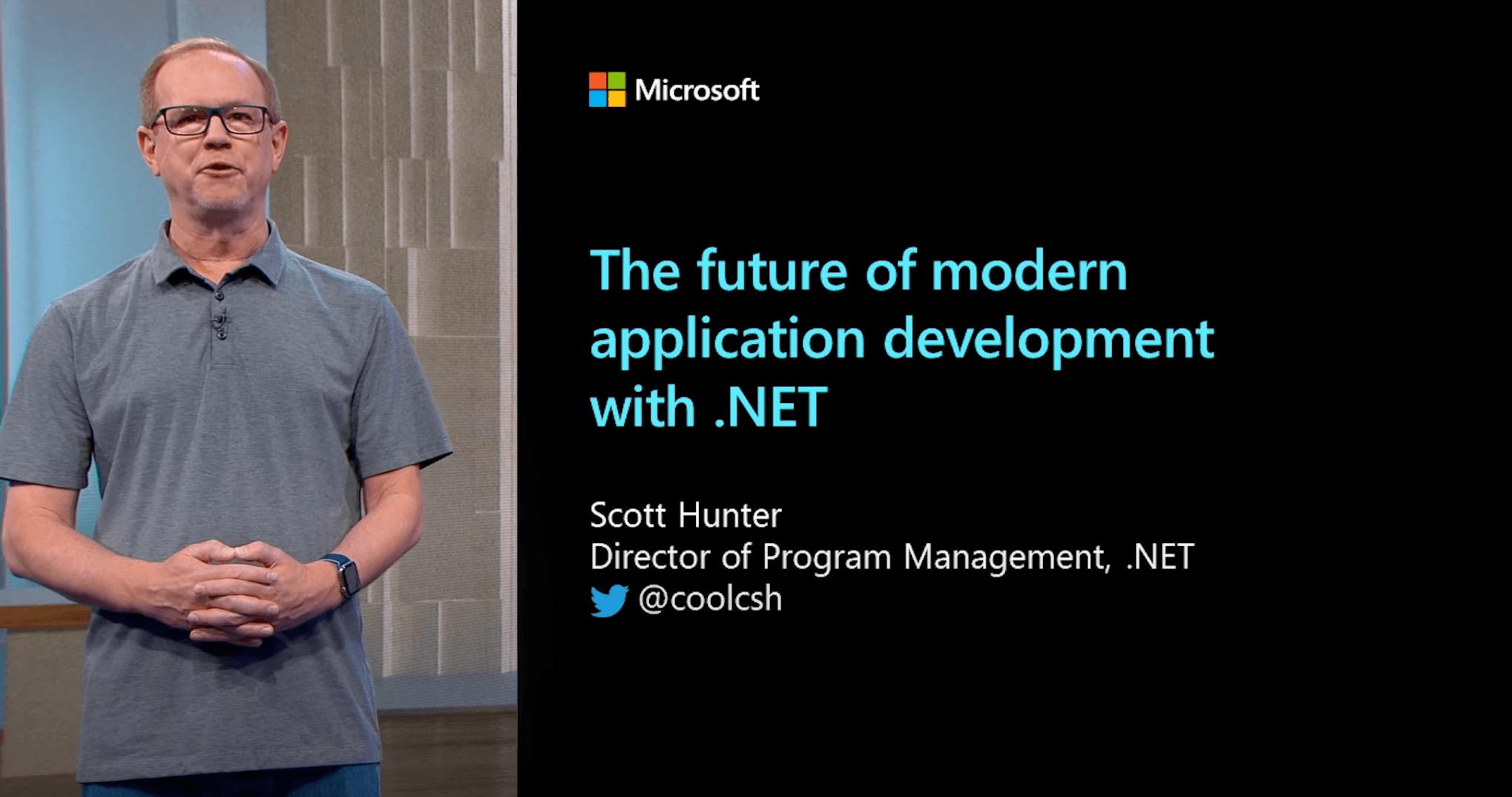 Scott Hunter giving DotNet Talk, The future of modern application development with .NET