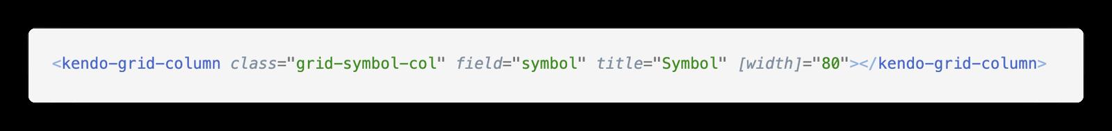 KUI Grid symbol markup