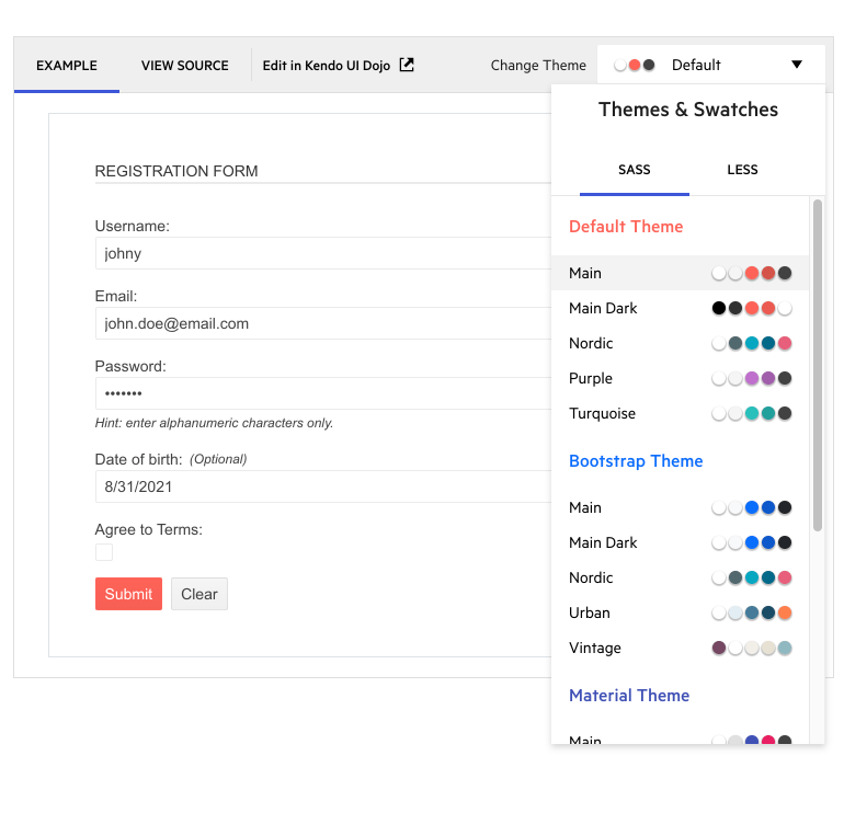 Improved Themes and Swatches in Telerik demos! Shows themes with their swatch options.