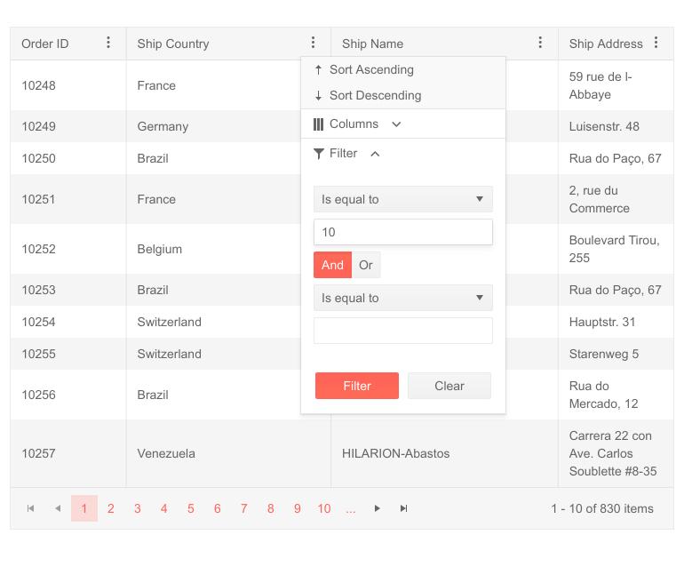 jQuery Grid - Updated Column Menu Design