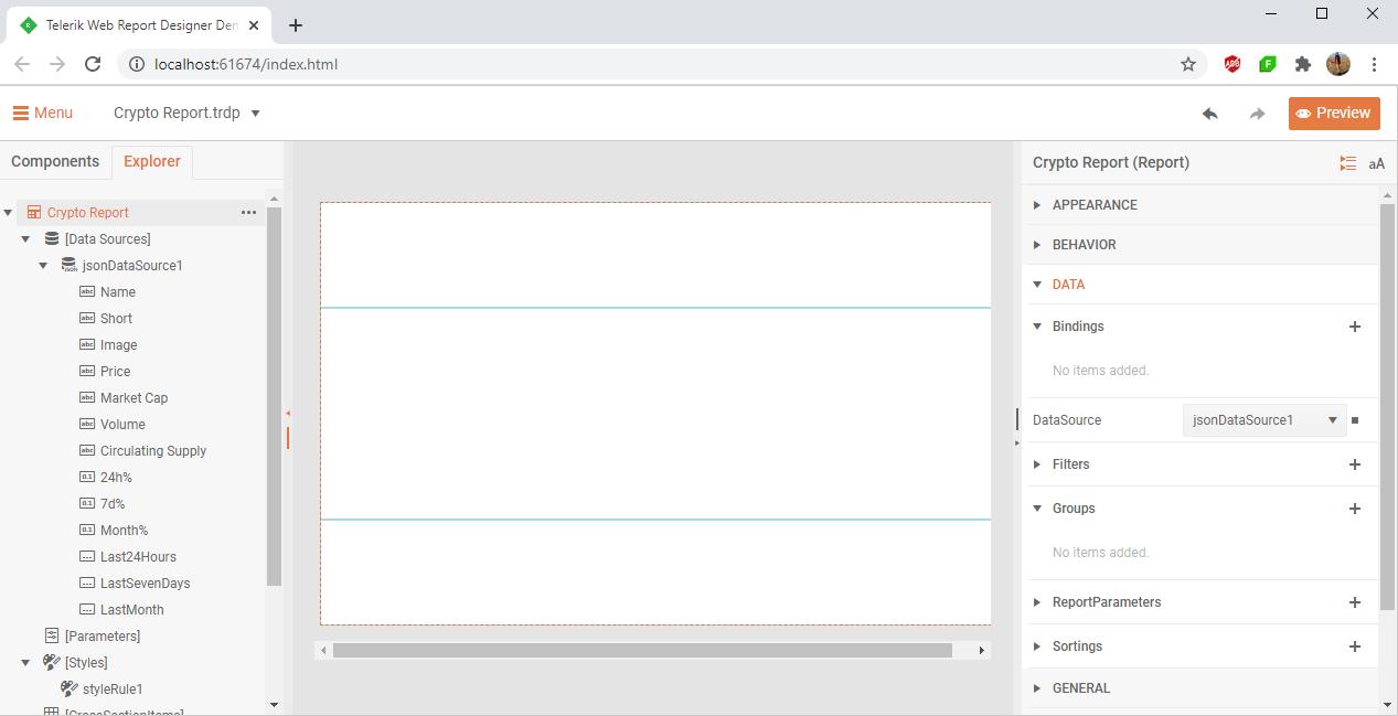 Telerik Web Report Designer. Crypto Report. Json DataSource
