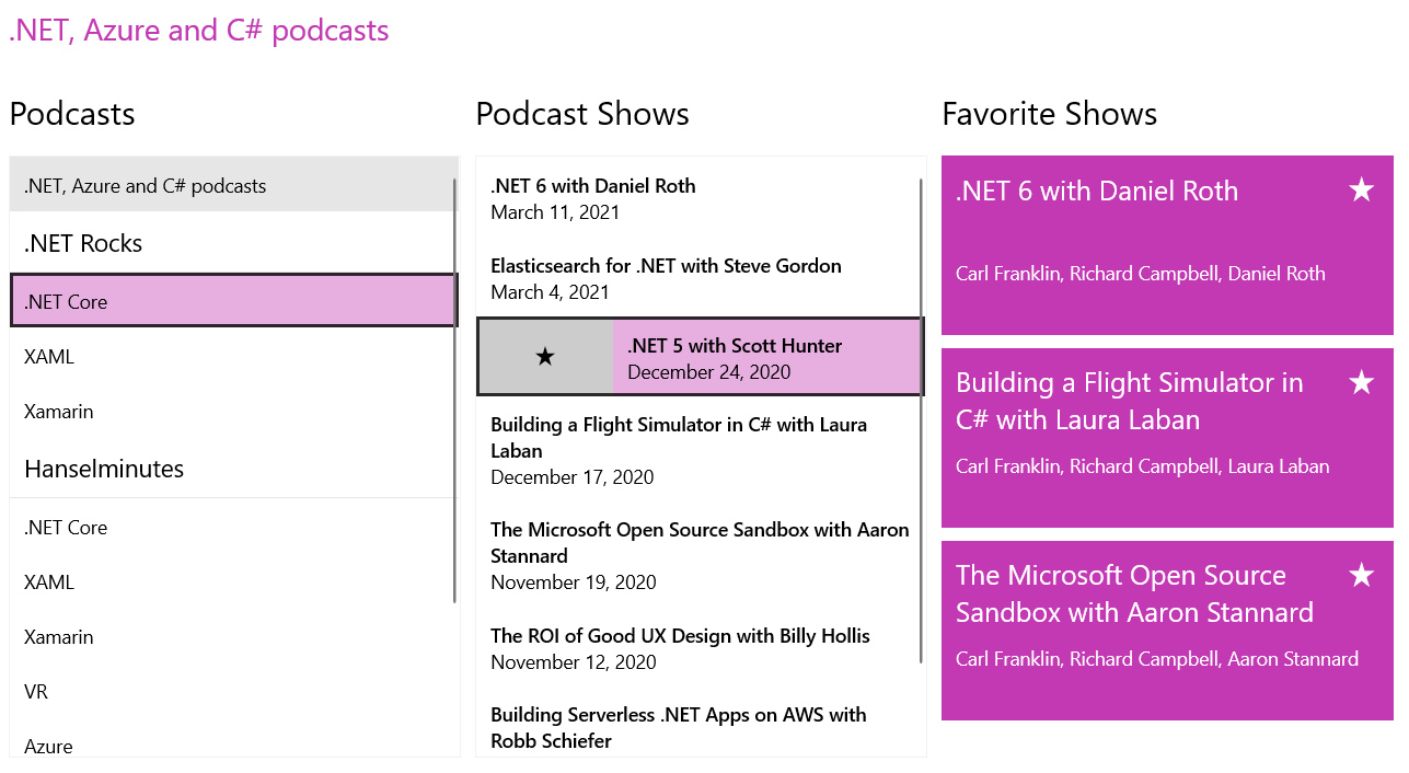 .NET, Azure and C# podcasts. Three lists: podcasts, podcast shows, favorite shows.