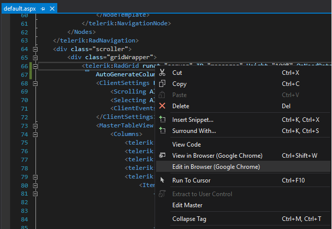 Right-clicking brings up options to Cut, Copy, Delete, Insert Snippet, Surround with, View Code, View in Browser, Edit in Browser, Run to Cursor, Edit Master, Collapse Tag. We have Edit in Browser highlighted.