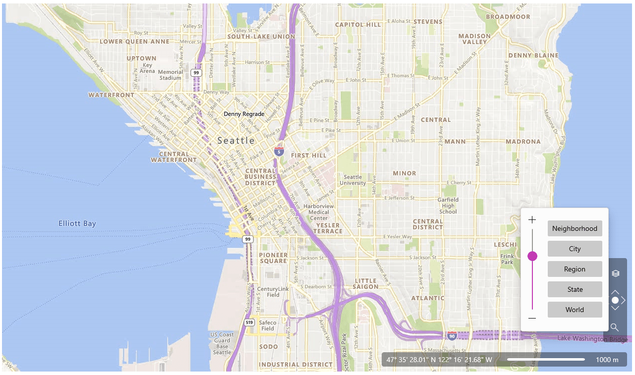Map of Seattle with zoom levels of Neighborhood, City, Region, State, World