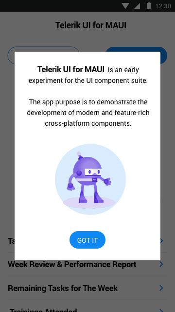 Telerik UI for MAUI Popup control