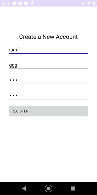 MauiGettingStarted: A Create a New Account screen with four blanks and a Register button