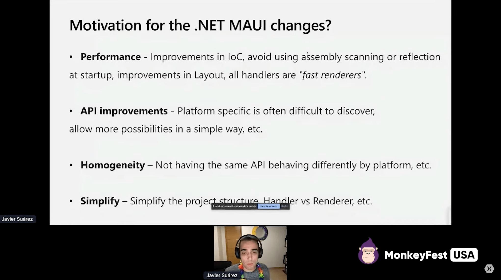 Screenshot of MokeyFest presentation by Javier Suárez, on a slide about motivation for .NET MAUI changes.