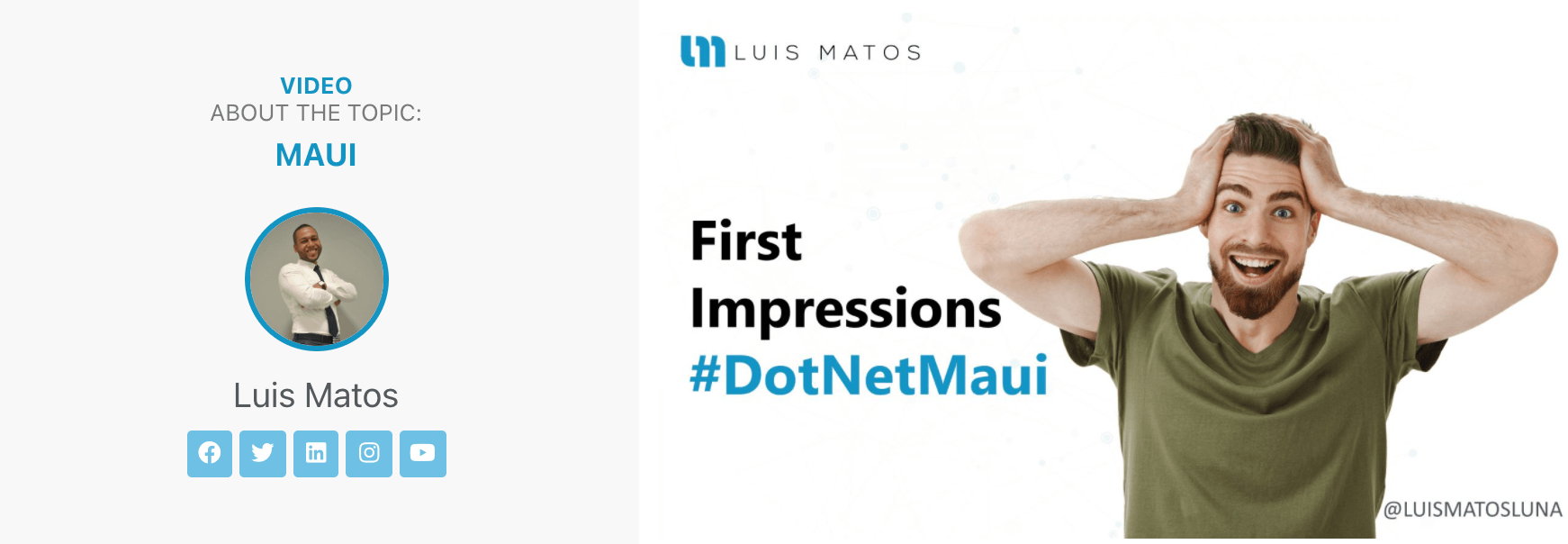 Promo for Maui Impressions video, with Luis Matos holding his head in amazement