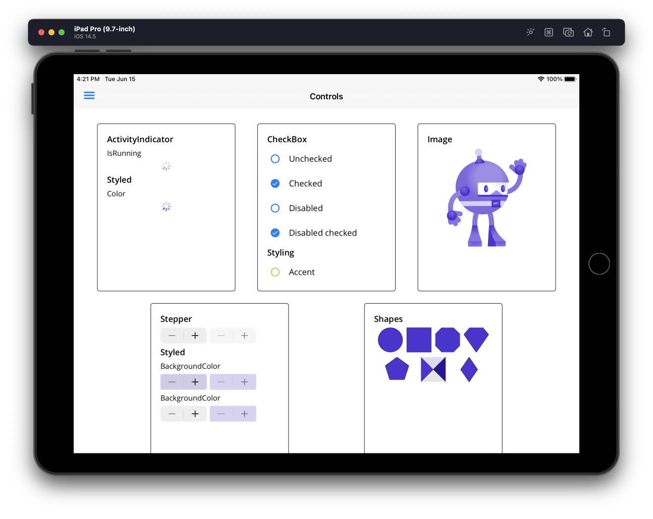 Maui Preview 5 controls: ActivityIndicator, CheckBox, Image, Stepper, Shapes.