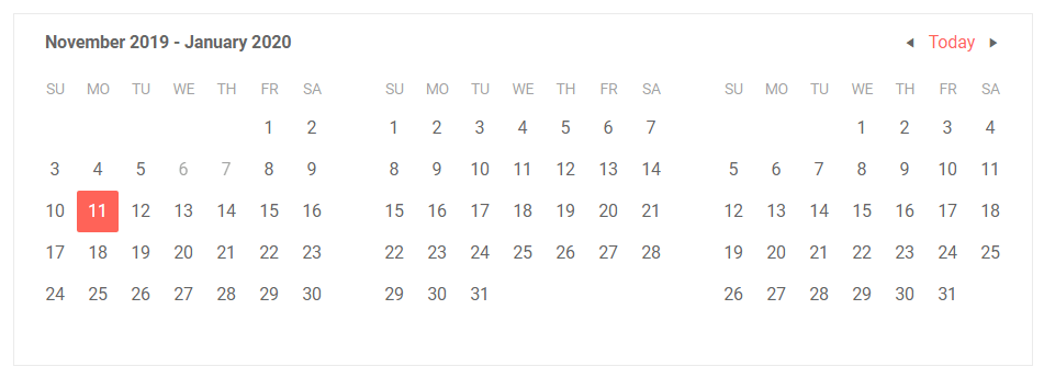 Telerik UI for Blazor MultiView Calendar