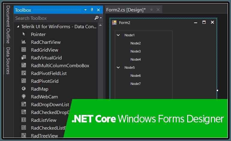 Telerik UI for Winforms - .NET Core Windows Forms Designer