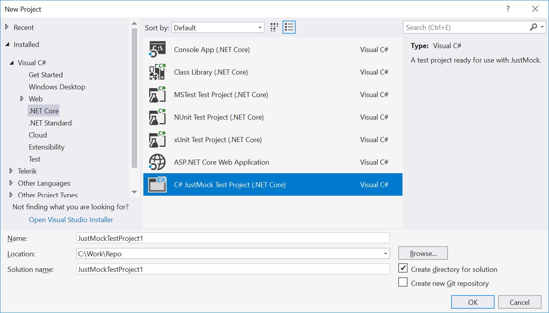 Net Core test project template