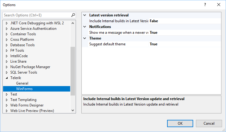 Window for Options has the menu set to Telerik > WinForms. The options are set: Latest version retrieval > False; Notifications > True; Theme (Suggest Default theme) > True.