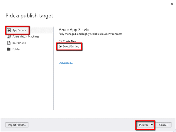 Azure Publish Wizard
