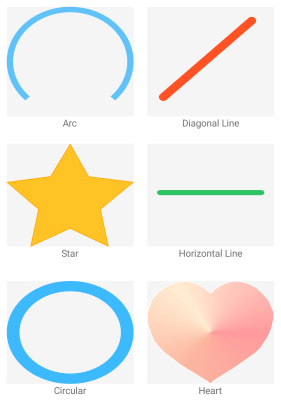 Path Overview showing examples of arc, diagonal line, star, horizontal line, circular and heart.