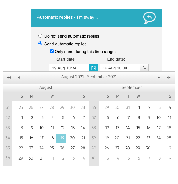 Telerik UI for ASP.NET AJAX DateRangePicker UI Component shows text fields for start and end dates, and the user has clicked the button to the right of the start date field that opens a calendar selector.