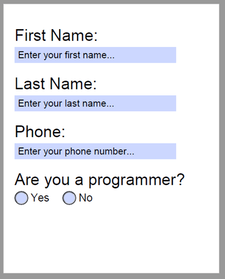 PDF document with interactive form fields for first name, last name, phone number, are you a programmer