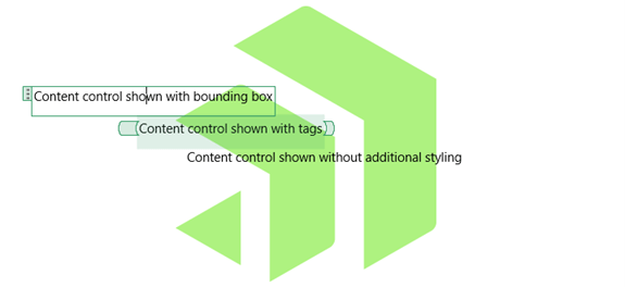 Content control with bounding box