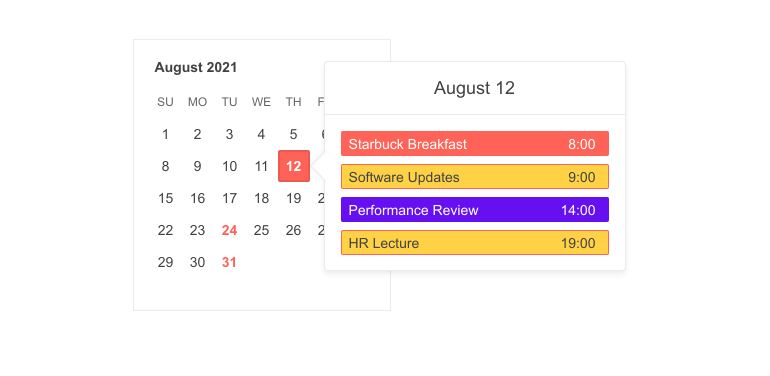 Telerik UI for ASP.NET MVC Popover Component showing a daily agenda when a day on a monthly calendar is clicked/hovered.