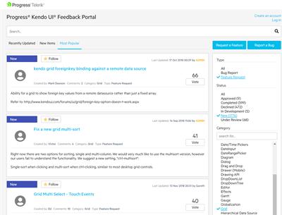 Kendo UI for jQuery Feedback Portal