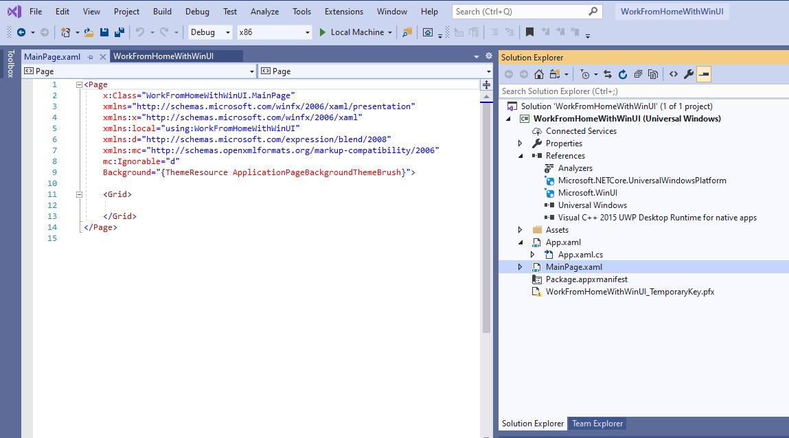 New WinUI 3.0 project in Visual Studio