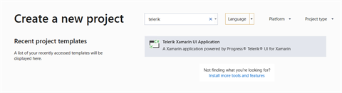 Telerik Project Template in VS 2019