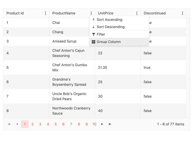 React Data Grid Group Ungroup via column menu