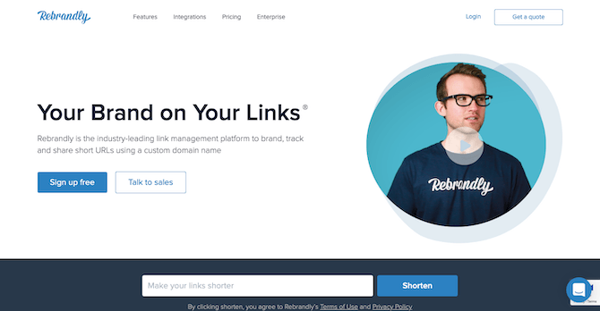 Rebrandly Home Page