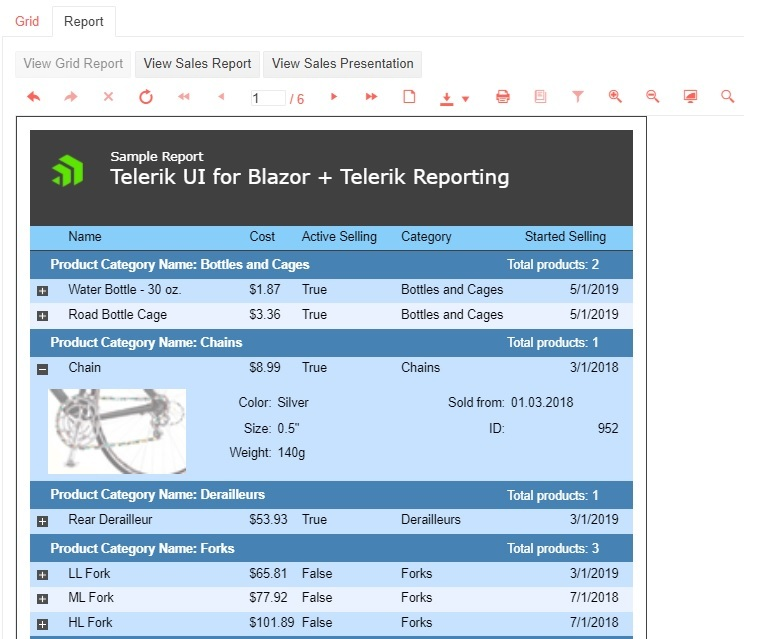 In the Report tab, we see a sample report with a list of categories and their products, which can be expanded. When they are minimized, the products still show name, cost, active selling true/false, category names, and started selling date. Under category Chains, we see product Chain has been expanded. It shows an image of a bike chain, color, size, weight, and ID number in addition to the collapsed version of the data, which is also shown.