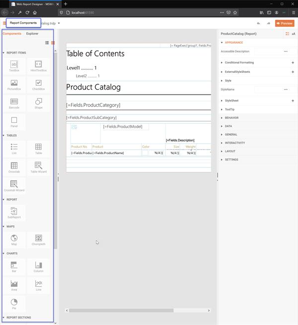 Web Report Designer Report Components