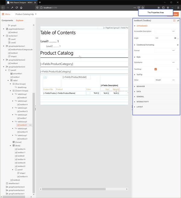 Web Report Designer Properties Area