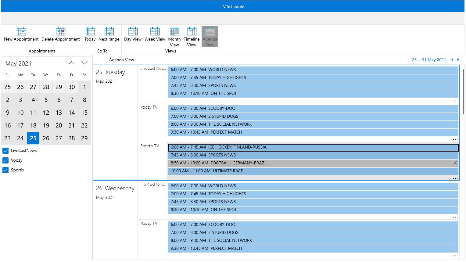 RadScheduler & RadRibbonView Integration