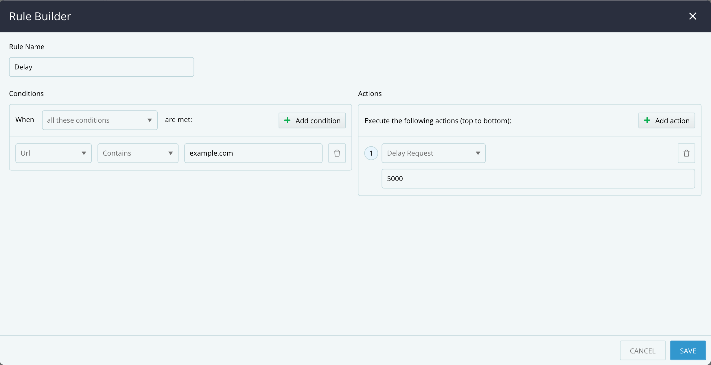 Rule Builder - Delay Request