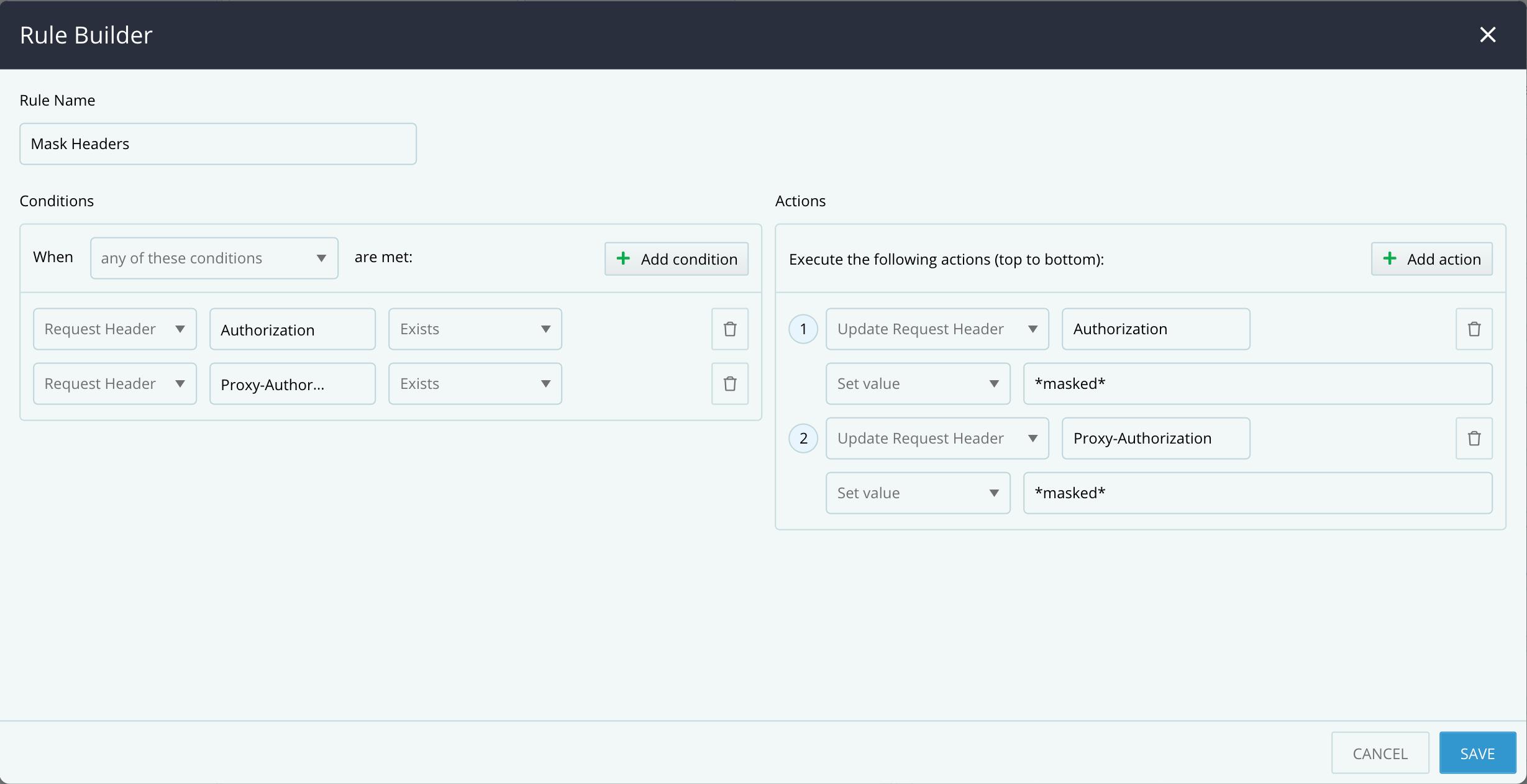 Rule Builder - Update Request Header