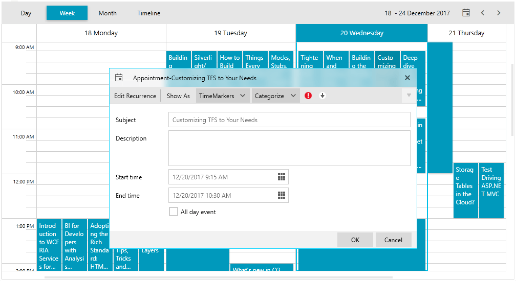 Telerik UI for WPF and WinForms Fluent Theme - Scheduler Image