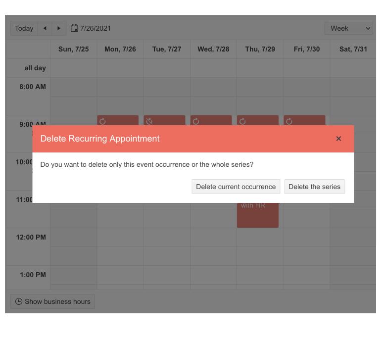 Telerik UI for Blazor Scheduler - Delete Confirmation