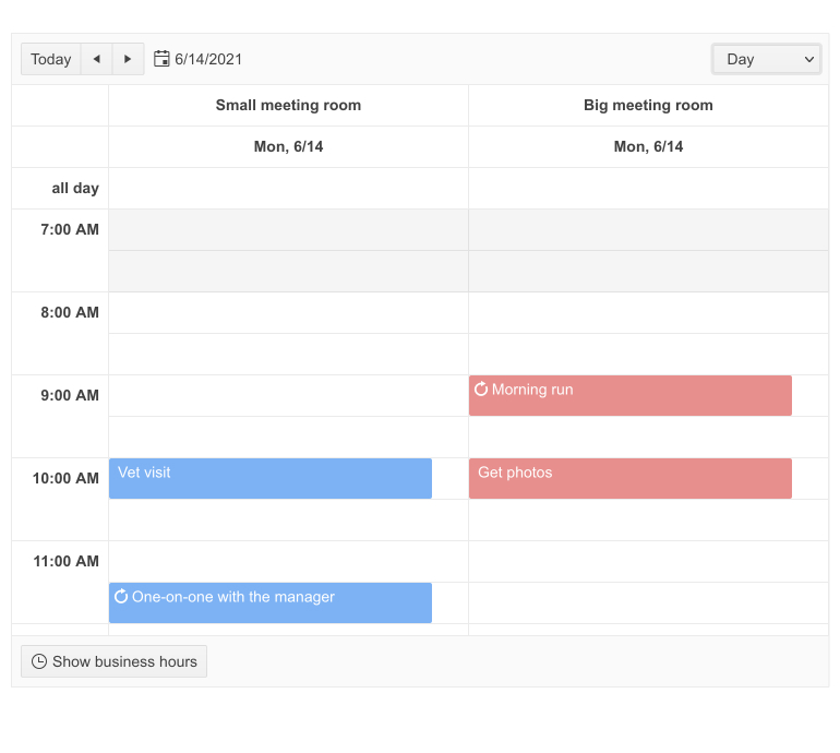 Telerik UI for Blazor Scheduler Resource Grouping: Two columns with the same date show the schedules for the small metting room and the big meeting room.