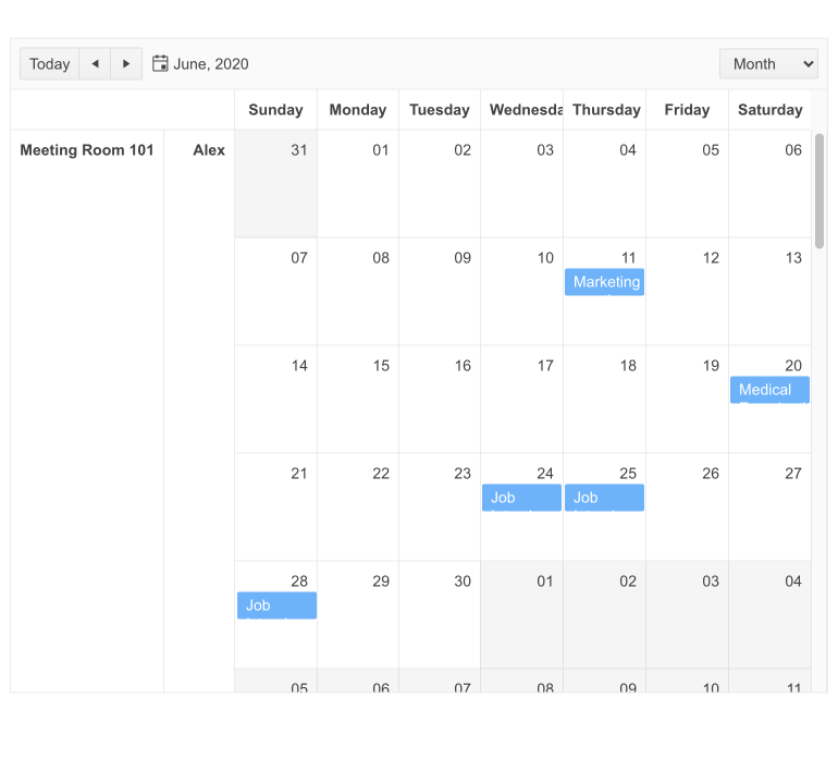 A calendar for June 2020 shows some events. At the left, two columns show Meeting Room 101, and Alex