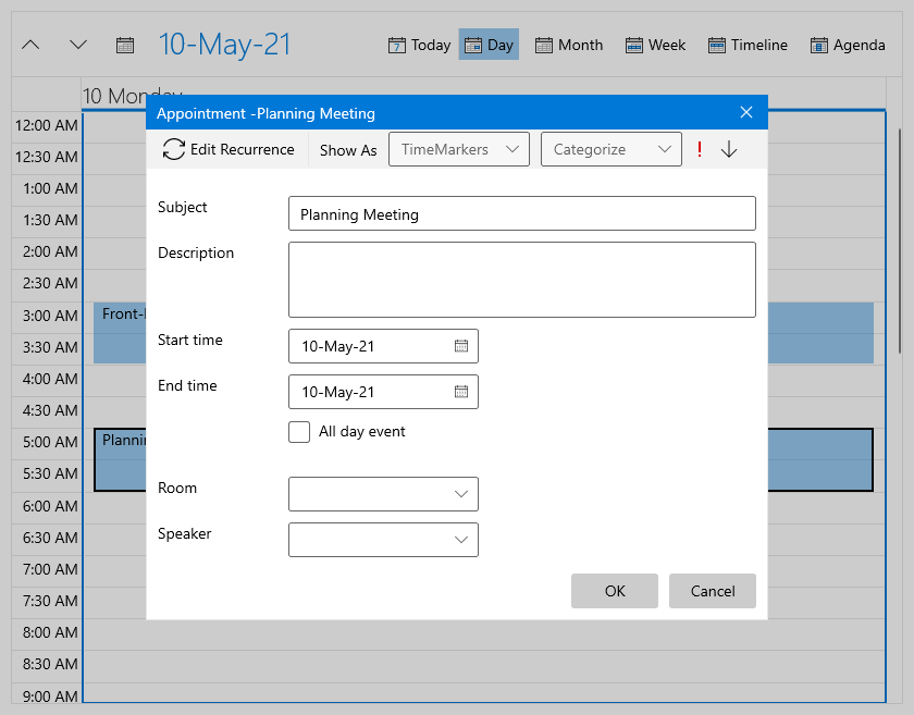 Scheduler has an appointment open for Planning Meeting. The editable options include subject, description, recurrence, categorize, show as, start time, end time, all-day event, room, speaker.