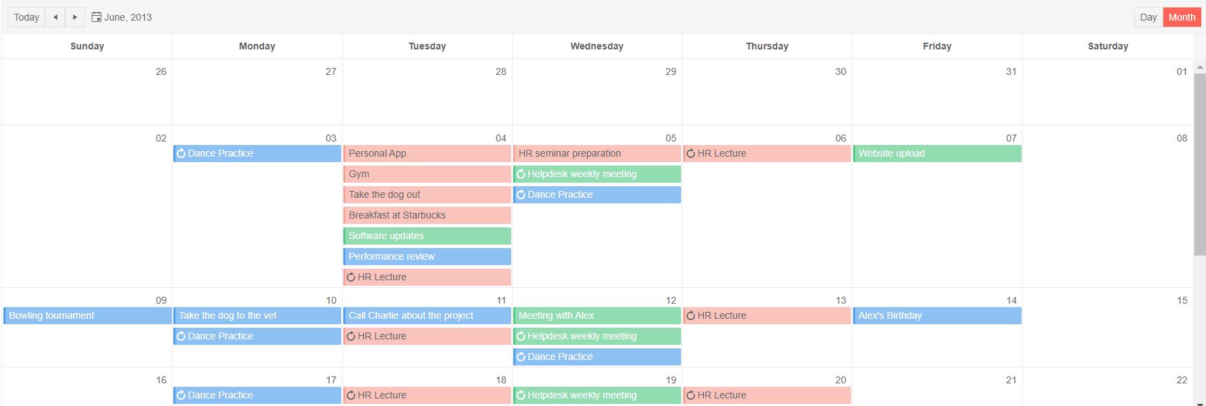 Telerik UI for ASP.NET MVC Scheduler