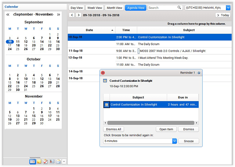 Telerik UI for Winforms - Scheduler - AgendaView Large Image