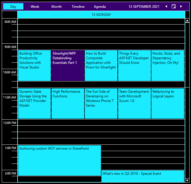 ScheduleView-HighContrast - black background with white text, a dark blue nav bar, and highlights in bright teal