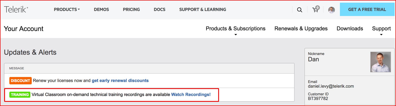 Telerik.com - Your Account