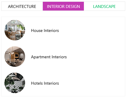 Segmented Control demonstration shows three tabs: Architecture, Interior Design (which we're on) and Landscape. Listed below are house interiors, apartment interiors, hotel interiors.