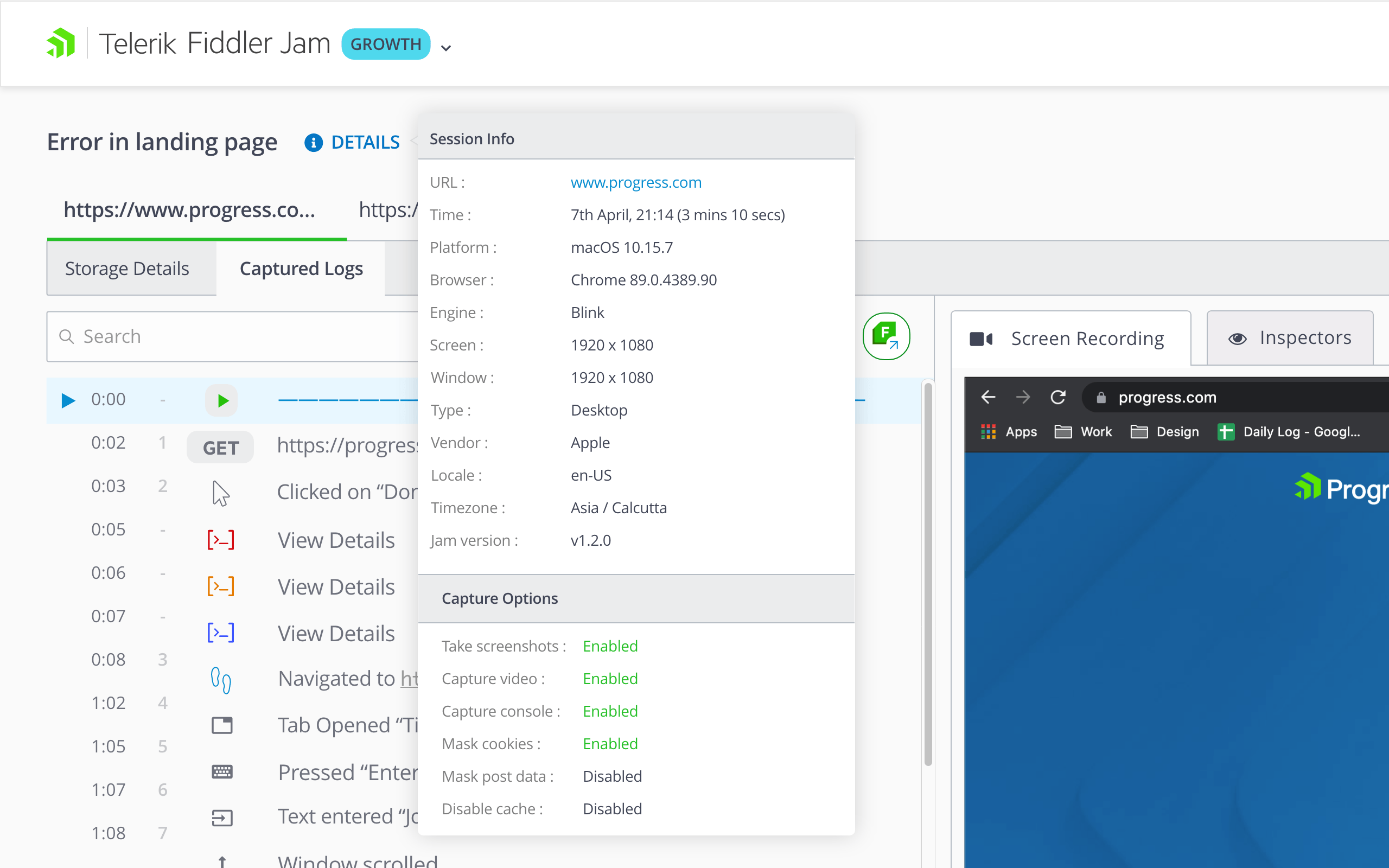 Fiddler Jam - Capture Options shows whether settings were Enabled or Disabled