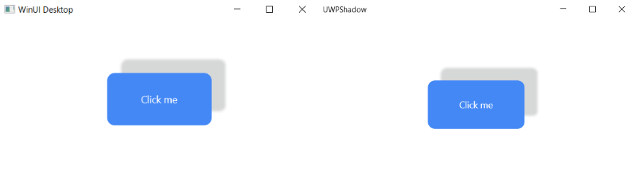 shadow on a rectangular button, widely offest, for winui and uwp