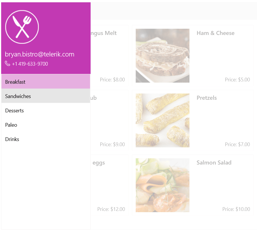 A food menu UI is grayed out as a left-hand side menu is pulled out. This SideDrawer show contact info and then categories of food.