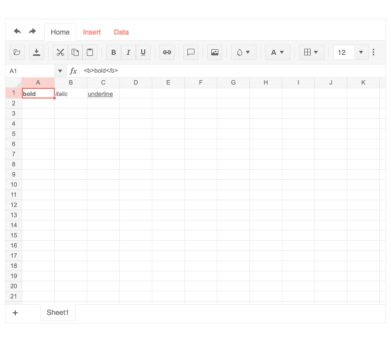 Spreadsheet feature Render cells using custom HTML