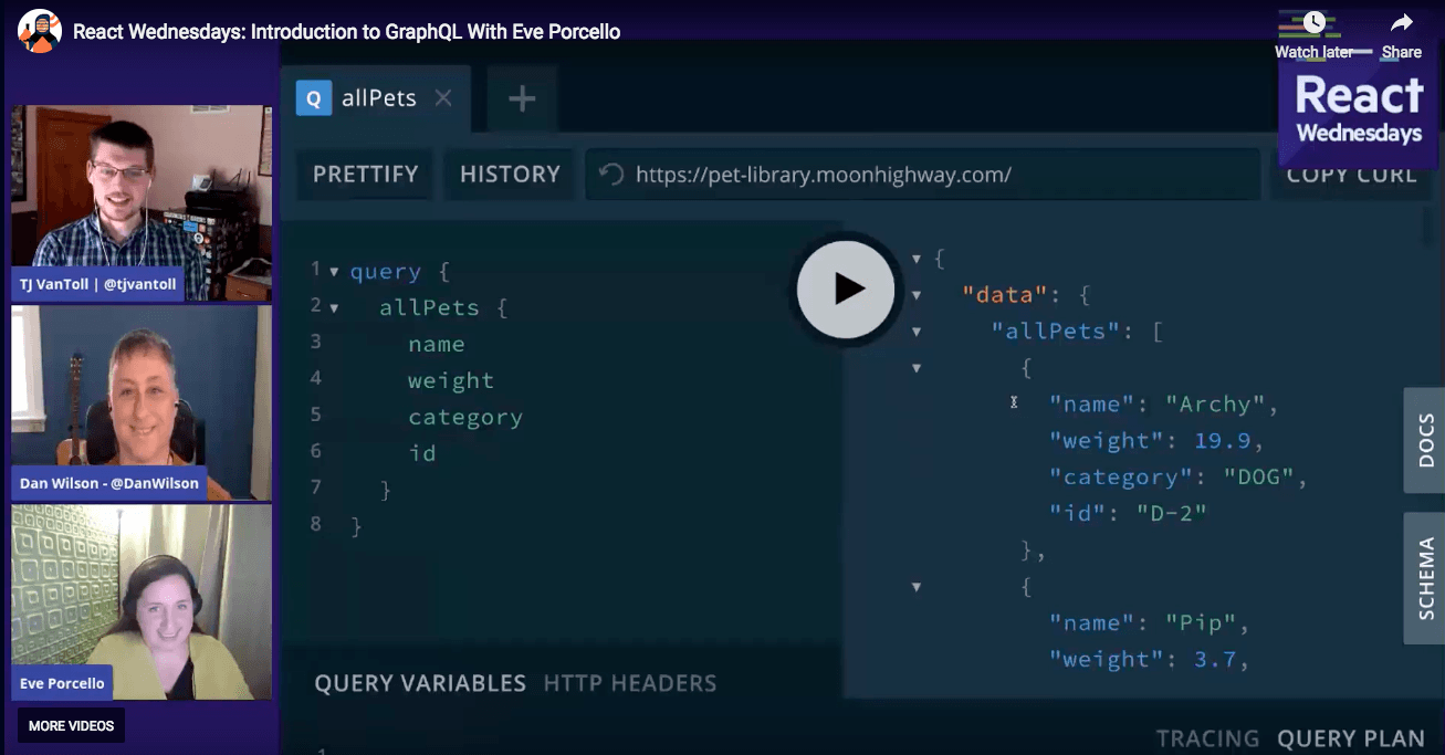 Eve showing off GraphQL